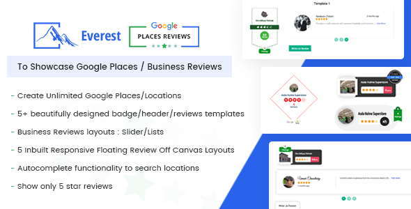 Download Everest Google Places Reviews Best WordPress Plugin To Showcase Google Places / Business Reviews - Free Wordpress Plugin