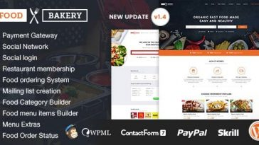 Download FoodBakery v.4.9.5 - Food Delivery Restaurant Directory WordPress Theme Free