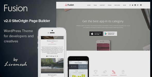 Download Fusion - Mobile App Landing WordPress Theme Free