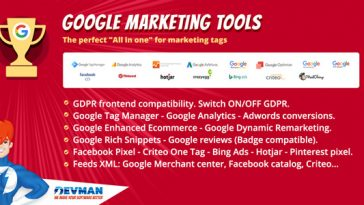 Download Google Marketing Tools The most complete marketing tool to Woocommerce! GDPR adapted! - Free Wordpress Plugin