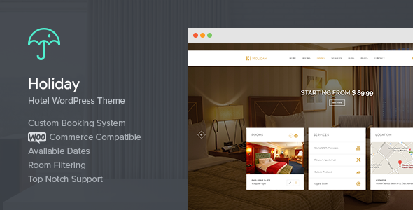Download Holiday v.1.2.4 - Hotel WordPress Theme Free