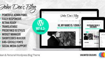 Download John Doe's Blog - Clean Wordpress Blog Theme Free