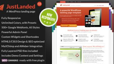 Download JustLanded v.1.7.0 - WordPress Landing Page Free