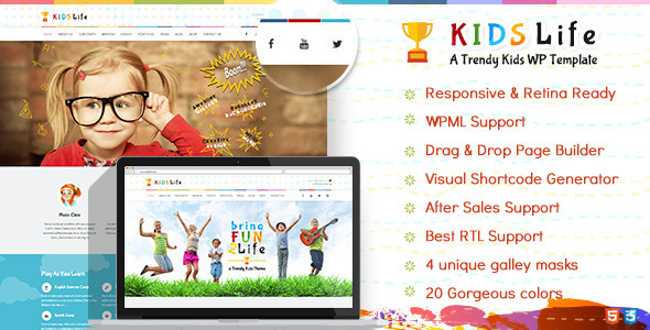 Download Kids Life v.4.9.8 – Children WordPress Theme Free