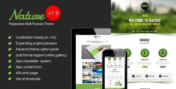 Download Nature - Responsive Onepage WordPress Theme Free