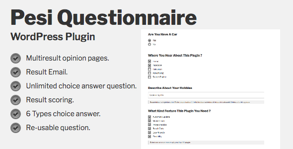 Download Pesi Questionnaire  Multiresult Survey and Quiz WordPress Plugin - Free Wordpress Plugin