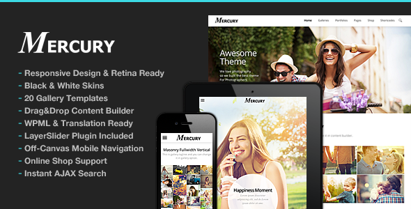 Download Photography WordPress v.4.2 - Mercury for Photography Free