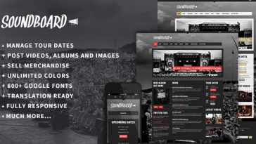 Download Soundboard - a Premium Responsive Music WordPress Theme Free