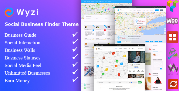 Download Wyzi v.2.1.9 - Business Finder and Service Provider Booking WordPress Social Look Directory Listing Theme Free