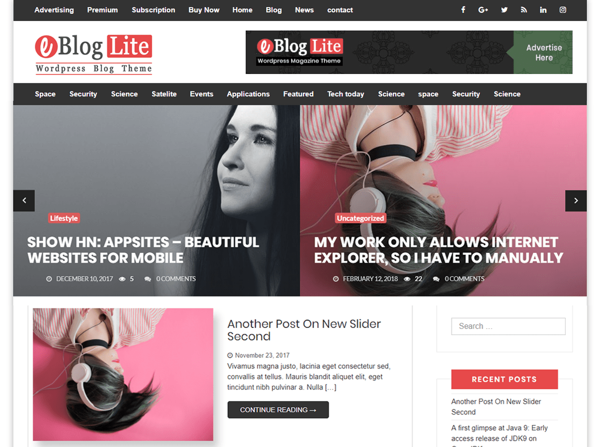 Download eBlog Lite 1.1.6 – Free WordPress Theme