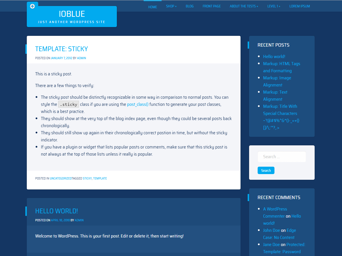 Download ioBlue 1.0.8 – Free WordPress Theme