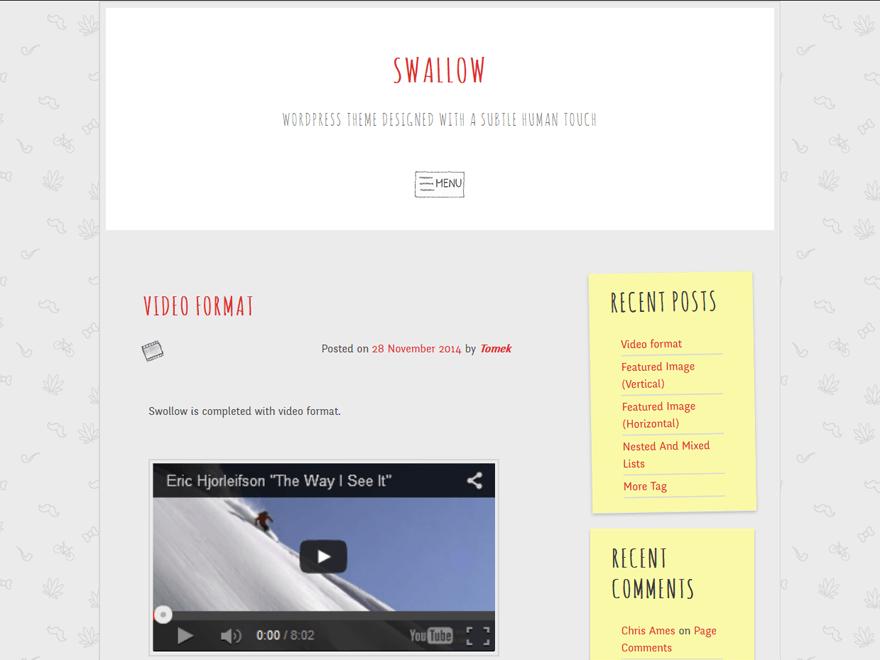 Download swallow 1.9 – Free WordPress Theme